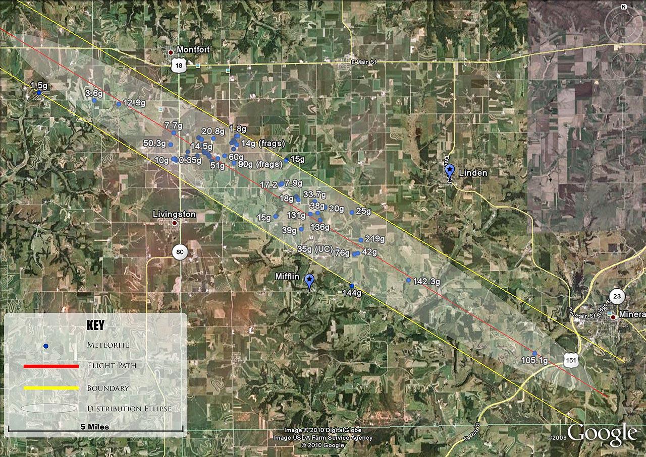 Wisconsin Meteorite Strewnfield Map
